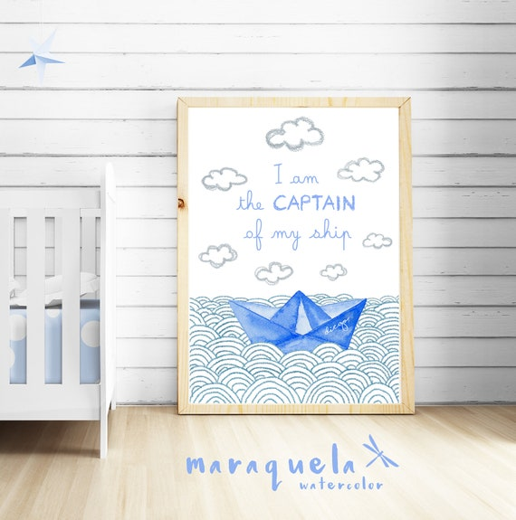 "Ilustración Barco de Papel con frase ""soy el capitán de mi barco"" / Paper boat and waves with quote ""I am the captain of my ship"""