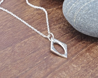 Diamond Shaped Necklace/Pendant, fine silver, diamond necklace, silver diamond, textured necklace