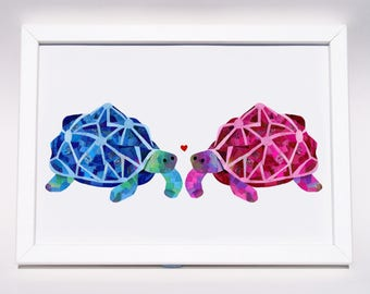 Tortoise love print, Valentines art print, Tortoise art, Cute animal print, Love wall art, Unique wedding engagement gift, Anniversary gift