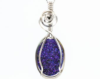 Purple Druzy Pendant, Titanium Druzy Necklace - Purple Druzy Jewelry, Argentium Sterling Silver - Wire Wrap Druzy - Wire Wrapped Jewelry