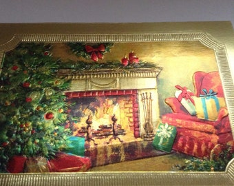Christmas foiled card Cozy living room unused+env