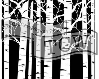TCW Crafter's Workshop ASPEN TREES 6x6 Stencil Paint Mixed Media # TCW252s
