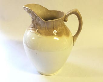 Stoneware Pitcher, McCoy Pottery, Drip Glaze, Cream