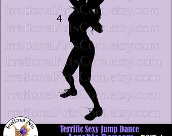 Terrific Sexy Jump Dance Aerobic Dancers Silhouettes  Pose 4 VECTOR VINYL READY Eps Svg png small commercial license (Instant Download)