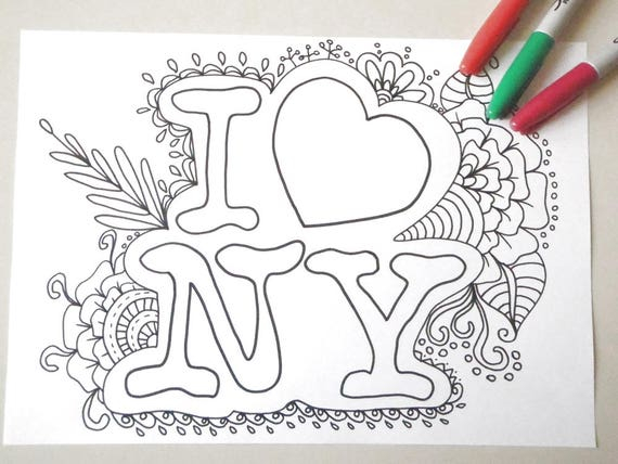 i love ny coloring new york kids adult coloring book page
