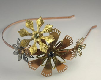 Vintage flower headband brass copper rhinestone boho romantic bridal Autumn wedding hair head piece