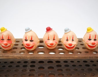 Vintage 1960's clown heads, cupcake toppers, set of 5 hard plastic happy clowns, made in Hong Kong, clown craft supply