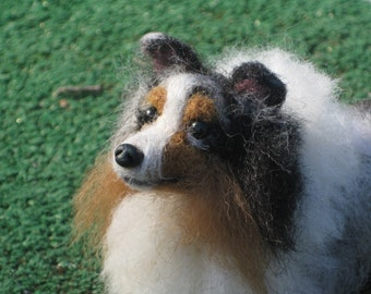 Felted Miniature of your Pet Custom Pet Portrait  / Cute /  Poseable Art Sculpture Personalized gift / example  Shetland Sheepdog  / Sheltie