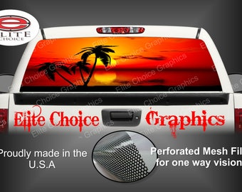 Tropical Sunset 6 Rear Window Graphic Tint Decal Sticker Truck SUV Van Car