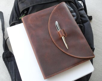 "Leather Composition Notebook Cover with pen- ""The Collegiate"""