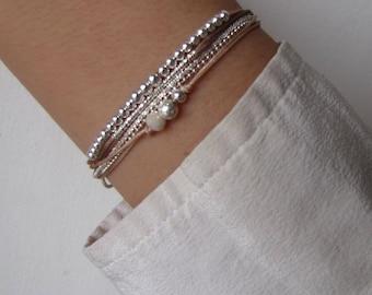 Bracelet multi row silver solid cord