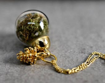 925 sterling silver  gold plated necklace with moss (K925-69)