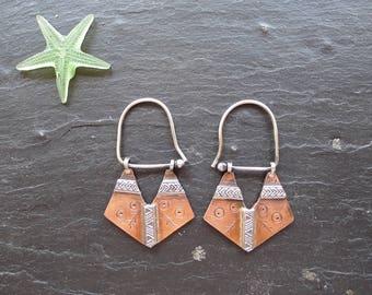 TRIBAL COPPER EARRINGS, sterling silver earrings, autumn jewelry, etched earrings, one of a kind jewelry