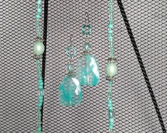 3pc Teal Blue Beaded Set