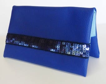 Blue checkbook cover in  faux leather
