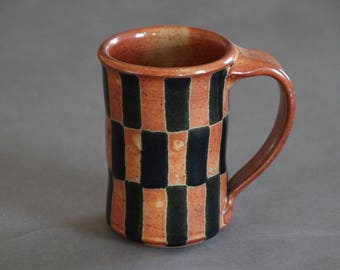 Checkerboard Stoneware Mug