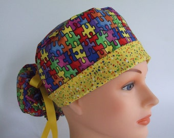 Autism Awareness Puzzle Pieces Ponytail - Womens lined surgical scrub cap, scrub hat, Nurse surgical cap, 60/60-7330 W