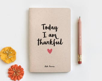 Gratitude Journal, Notebook & Pencil Set - Today I am Thankful, Thanksgiving Gift, Midori Insert Travelers Journal 3 Sizes