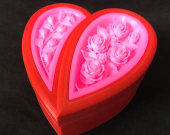 Mothers day Gift box/Trinket Box/Jewelry Box/Gift for Wife/for Her/gift for mom/heart box with rose inlay/Mother's day decor