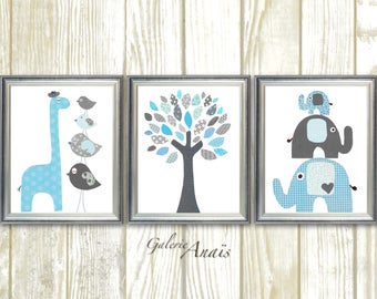 Baby Room Decor Gray blue Nursery Art baby Boy nursery Decor kids Wall art Giraffe Nursery Elephant Nursery Bird tree Set of three prints