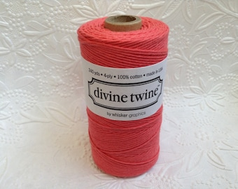 Solid Coral Bakers Twine 240 Yards Spool-Divine Twine-Cotton-4 ply-Biodegradable