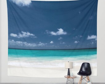 Beach Tapestry, Nautical Tapestry, Coastal Large Wall Decor, Surf, dorm, office, Aqua Blue Wall Art,Nature Tapestry,Tropical Tapestry, Calm