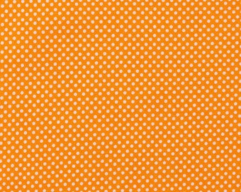 Orange and White Polka Dot Fabric - 100% Cotton Quilting Apparel Crafts Home decor