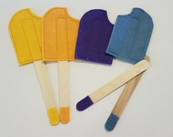 Felt Popsicles - Play Food - Pretend Play Popsicle - Felt Toy Popsicle - Felt Food - Popsicle Toy - Yellow Popsicle Toy - Blue Popsicle Toy