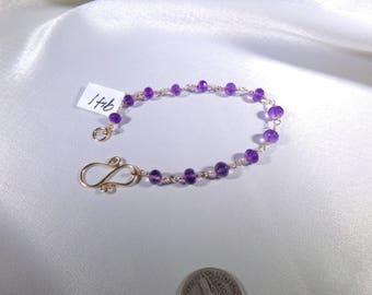 Amethyst gold filled link bracelet microfaceted gemstone handmade  item 941