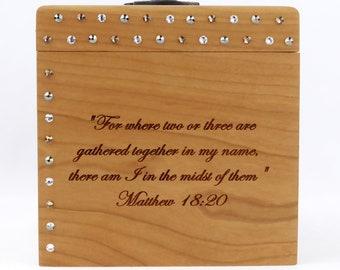 Prayer Request Box - Cherry - Prayer Box - Matthew 18