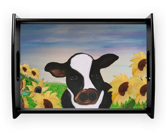 Cow and sunflowers serving tray from my art, available in 2 sizes