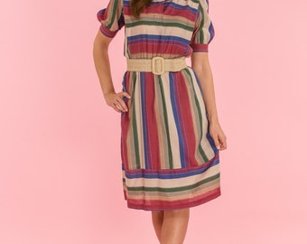 Vintage Jewel Toned Striped Fold Dress (Size Medium)