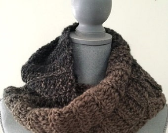 "crochet handmade fashion SOFT bulky chunky COWL scarf ombre SCARFIE brown taupe charcoal yarn 7""x90"""