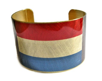 Netherlands FLAG cuff bracelet Brass  Aluminum Heritage Gifts for her