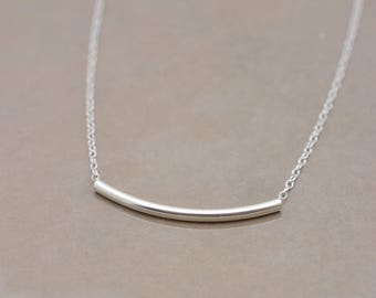 Silver Tube Necklace, Curved Tube Necklace, Curved Bar Necklace, Real Sterling Silver Necklace, Layering Necklace - Gift for Her 0362
