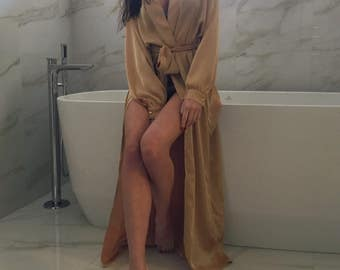 Women's satin silk long robe | Maxi robe | Bridal long robe | Silk long kimono