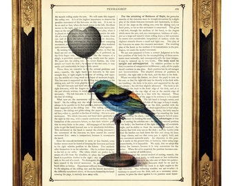 Valentine's Day Bird black Heart Balloon Dictionary Picture - Vintage Victorian Book Page Art Print Steampunk