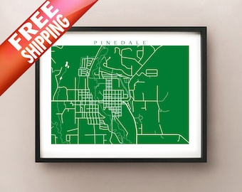 Pinedale, WY Map Print - Wyoming Poster