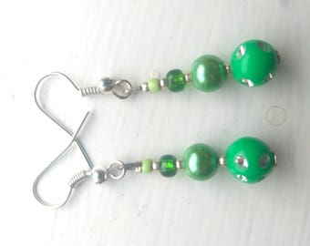 Beaded green earrings