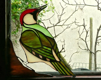 Stained glass green  woodpecker sun catcher