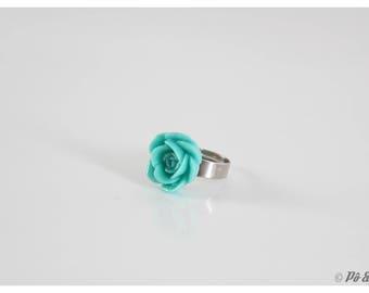 Vintage - #0727 emerald green flower ring
