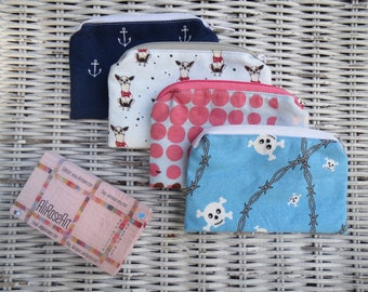 Navy & Blue Zippered Mini Money Pouches, Credit Card Pouch, Business Card Pouch, Earbud Pouch, Gift Card Pouch, Coin Purse, Clubbing Wallet
