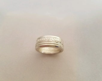 United States Marine Corp Silver Coin Ring