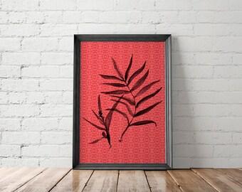Tropical Leaf Printable, Tropical Leaf Art Print, Tropical Leaf Wall Art, Jungalow Wall Decor, Jungalow Wall Art, Boho Print, Bohemian Print