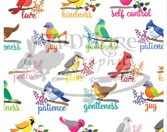Fruit of the Spirit Birds Printable Paper
