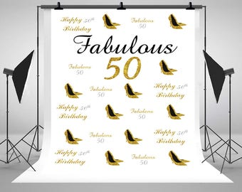 50th Birthday Gold Glittering Photography Backdrops Custom Step and Repeat Photo Backgrounds for Party Studio Props