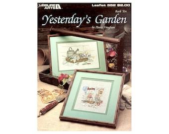 Yesterday's Garden Cross Stitch Leaflet, Paula Vaughan, Floral Cross Stitch, Garden Cross Stitch, Flowers Cross Stitch, NewYorkTreasures Ets