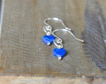 Natural Lapis Lazuli Earrings, Blue Heart Hammered Sterling Silver Earrings.