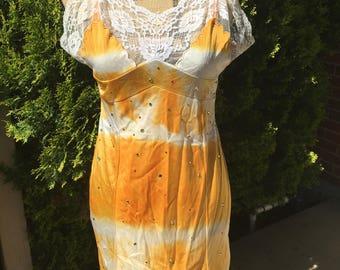 Hand Dyed Sunburst Vintage Slip Dress