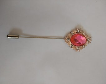 Hot Pink Lapel Pin...Suit Brooch... Stick Pin.